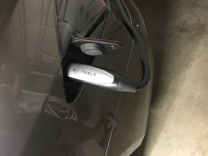 tesla charger with tight cable bend